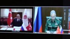 Turkish Defense Minister Hulusi Akar and his Russian counterpart Sergei Shoigu sign a MOU on Karabakh peace monitoring on Nov 11.
