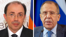 Armenia's newly-appointed Foreign Minister Ara Ayvazian and his Russian counterpart, Sergey Lavrov