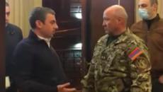 ARF of Armenia leader Ishkhan Saghatelyan with Lt. Gen. Sagrsyan of the NSS before being taken into custody on Nov. 11