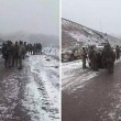Armenian, Azerbaijani and Russian military officials confer after Azeri forces entered the Sotk gold mine Nov. 26