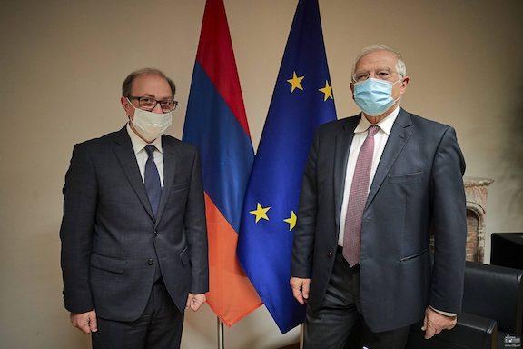 Armenia's Foreign Minister Ara Aivazyan (left) with Josep Borrell, EU's chief diplomat