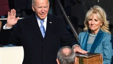 President Joe Biden taking the oath of office with First Lady Dr. Jill Biden