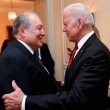 President Armen Sarkissian seen here with President Joe Biden, when he was Vice-President