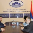 ARF leaders Davit Ishkhanyan and Ishkhan Saghatelyan (left) meet with Artsakh Foreign Minister David Babayan