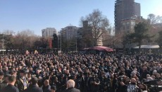 Protesters gather at Freedom Square on Feb. 12
