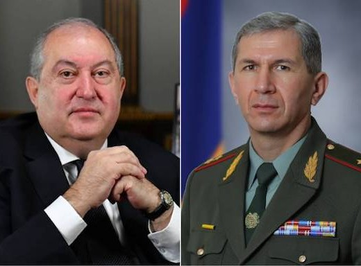 President Armen Sarkissian (left) and Armenia's Armed Forces Chief of Staff Colonel-General Onik Gasparyan