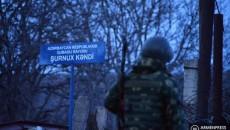 An Azerbaijan soldier on a road in Syunik Province