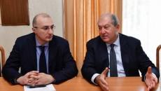 President Armen Sarkissian (right) meets with Hayastan Armenia Fund Executive Director Hayakak Arshamyan on Oct. 18 2018