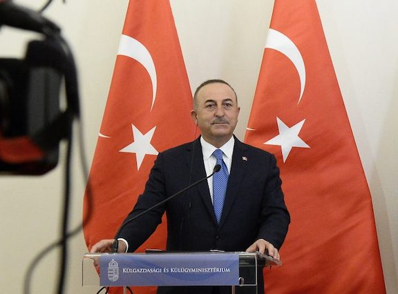 Turkey's Foreign Minister Mevlut Cavusoglu during a press conference in Budapest, Hungary on Feb. 25