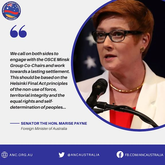 Australia's Minister for Foreign Affairs Marise Payne has reaffirmed the Government's support for the OSCE Minsk Group process