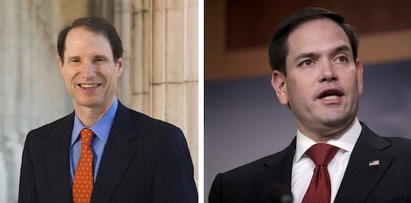 Senators Ron Wyden (left) and Marco Rubio