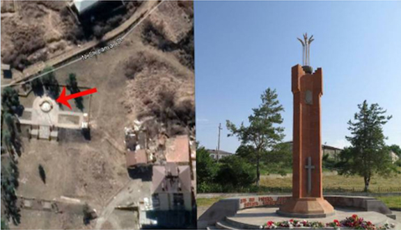 The image on the left is an aerial shot of where the Armenian Genocide memorial in Shushi used to stand, according to Mediaport