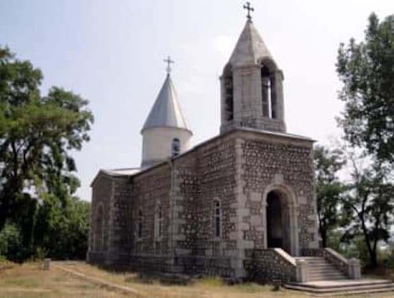The St. John the Baptist Church--or Kanach Zham--in Shushi was destroyed by Azerbaijani forces after the war ended