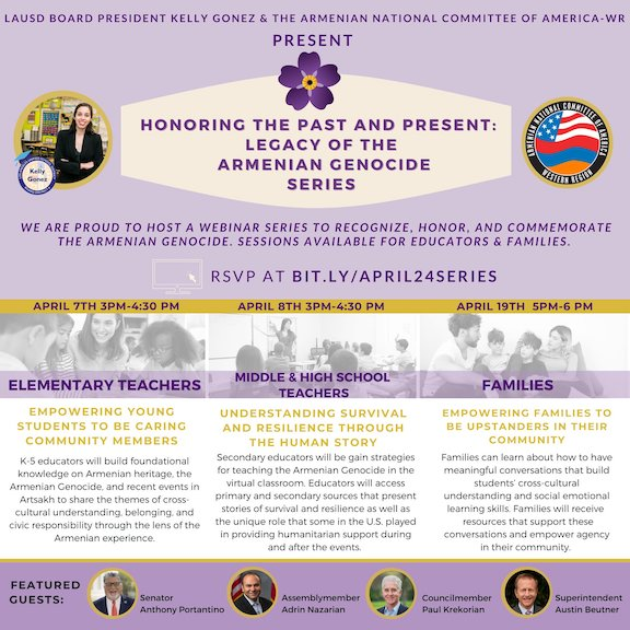 ANCA-WR, LAUSD to host workshops on Armenian Genocide