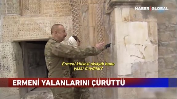 """After visiting a 17th century church in occupied Hadrut, Azeri President Ilham Aliyev ordered the removal of medieval inscriptions, calling them """"fake"""""""