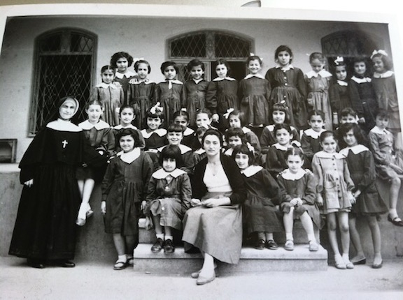 Catherine Yesayan's 2nd Grade Class at Institute Mariam in Tehran. Pictured  are 32 students, the Mother Superior, and  a teacher. Of the 32 students, 12 are Armenian.