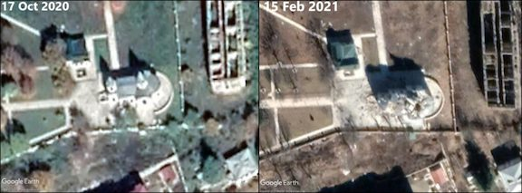 Aerial images show the Kanach Zham Church in October and later in February completely destroyed
