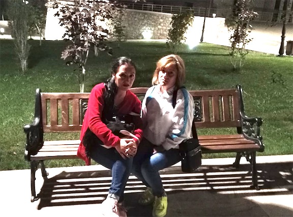Sisters Maral and Annie Najarian in Stepanakert before the war