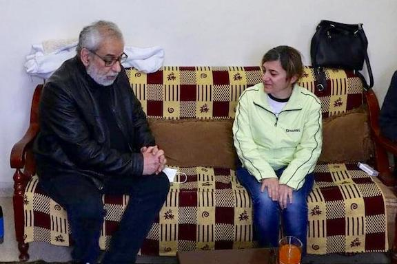 Lebanese member of parliament and chairman of the ARF Central Committee of Lebanon Hagop Pakradouni visits Maral Najarian after she arrived in Beirut