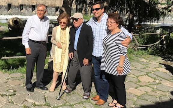 Mr. and Mrs. Vahik and Alice Petrossian and their son, Chris flank Mina and Hacob Shirvanian during the opening of the Shirvanian Youth Center in Gyumri in July 2016