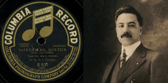 Mardiros Der Sarkis Tashjian, along with one of the record labels from his 1909 recording for Columbia Phonograph Company. Photo Credit: Project SAVE Armenian Photograph Archives