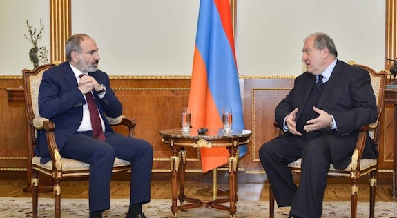 President Armen Sarkissian (right)  met with Prime Minister Nikol Pashinyan on March 13