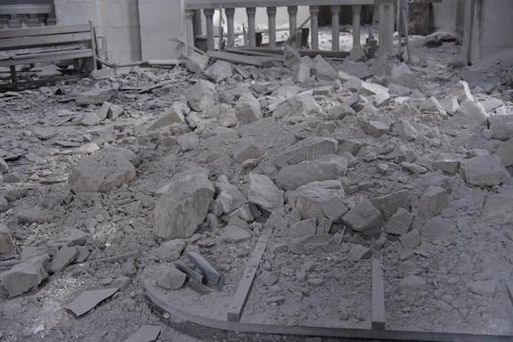 The Surp Ghazanchetsots--Holy Savior--Cathedral in Shushi after it was bombed by Azerbaijani forces