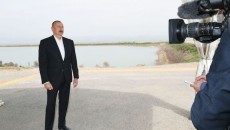 President Ilham Aliyev of Azerbaijan posing in front of a camera for an interview with AZTV on April 20