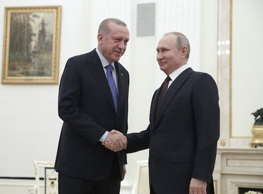 Russian President Vladimir Putin (right) and his Turkish counterpart Recep Tayyip Erdogan at the Kremlin in March, 2020