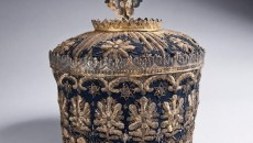 Armenian, Saghavard (Liturgical Crown), 1751. Metal, sequins, gold metallic thread on velvet. Gift of Paul and Vicki Bedoukian, Courtesy of the Collection of the Armenian Museum of America.
