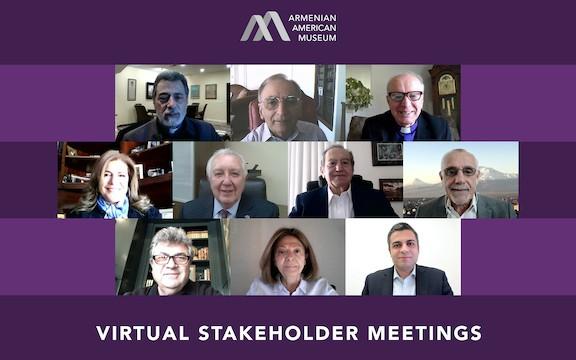 Top row from l to r: Archbishop Hovnan Derderian, Dr. Nazareth E. Darakjian, Rev. Berdj Djambazian. Middle row from l to r: Talin Yacoubian, Berdj Karapetian, Zaven Kazazian, Avedik Izmirlian. Third row from l to r: Aram Alajajian, Mary Khayat and  Shant Sahakian