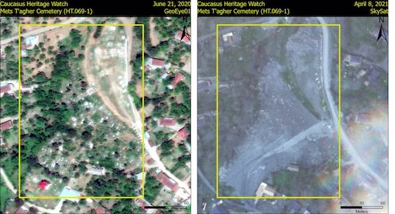A satellite image of the destroyed Mets Tagher cemetery in Hadrut