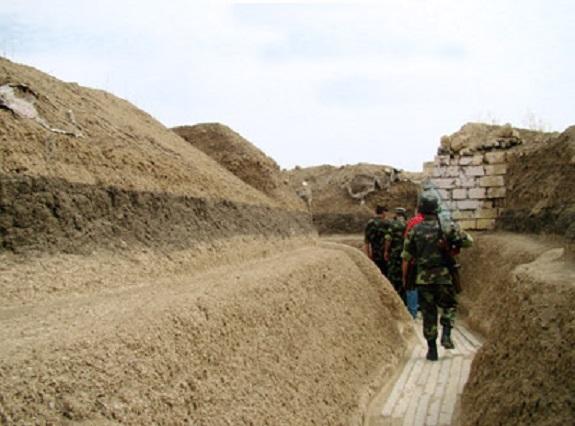 Armenian soldiers on the frontline in the Martakert region of Artsakh