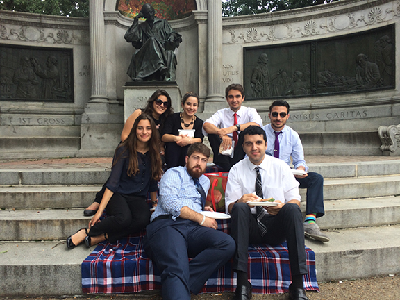 Here in Washington, DC every day together is cause for celebration, with the team enjoying their daily picnic lunch together. From l to r: Ripsime Biyazyan, Arevig Afarian, Denise Altounian, Dickran Khodanian, Patrick Babajanian, Erik Khzmalyan and Shaunt Tchakmak