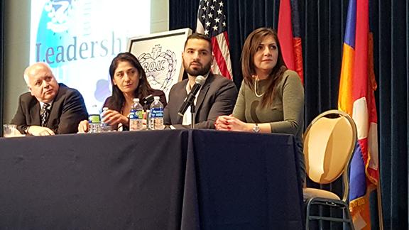 From left, Daron Der-Khachadourian, Judge Houry Sanderson, Caspar Jivalagian, Elen Asatryan