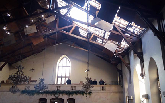 Image of the damaged roof (Source: Public Radio of Armenia)