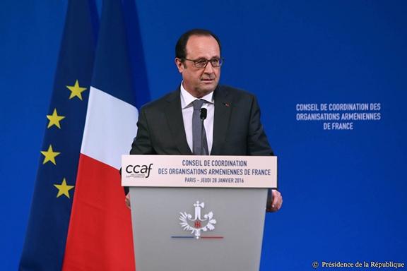 French President Hollande Addressing the CCAF dinner. (Source: Presidence de la Republique France)