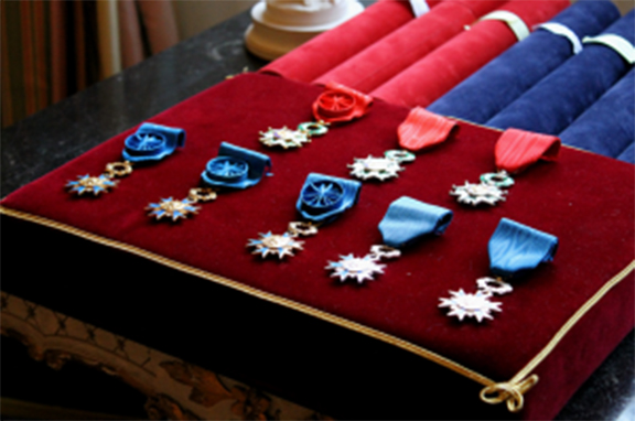 The French Legion of Honor, established by Napoleon Bonaparte in 1802, is awarded for excellent civil or military conduct.