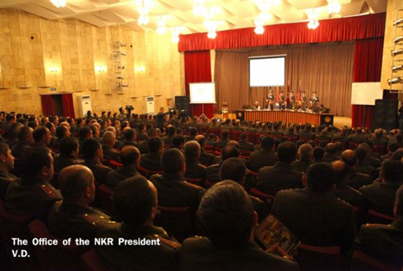 Friday's meeting of the Defense Army Military Council. (Source: President.nkr.am)