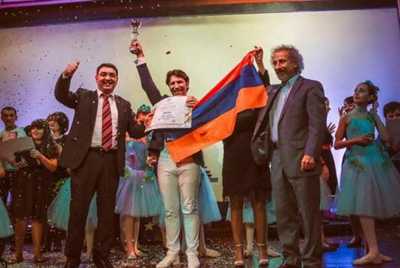 Artsakh Singer Sar Sargsyan at the international contest in Spain. (Source: Armenpress)