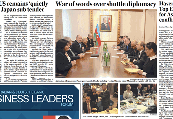 """""""War of words over shuttle diplomacy"""" article in The Australian"""