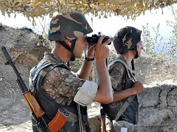 Karabakh soldiers on the front lines. (Souce: Arka)