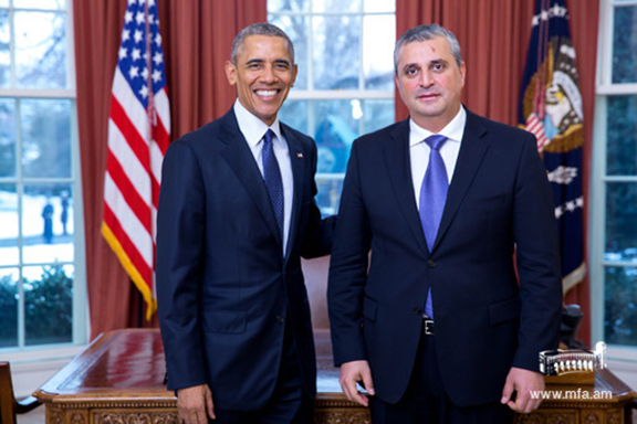 President Obama with newly appointed Ambassador Hovhannissian. (Source: mfa.am)