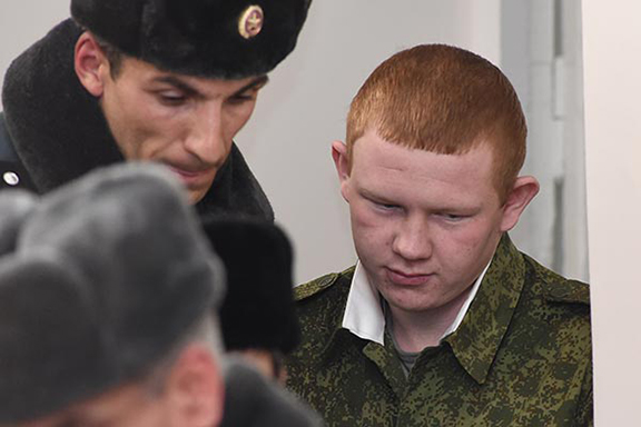 Russian conscript Permyakov during trial earlier in 2016. (Source: Photolure)