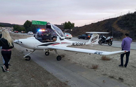Small plane lands safely on the 23 freeway. (Source: Moorparkpatch.com)