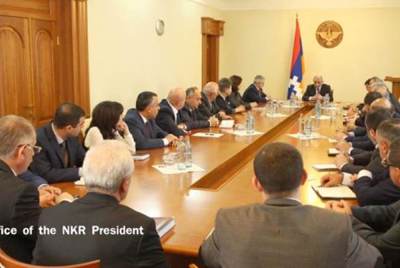 President Bako Sahakian addressing the working consultation. (Source: Office of the NKR President)