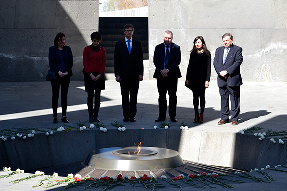 Members of Belgian delegation and EAFJD at the Genocide Memorial Complex in Yerevan.