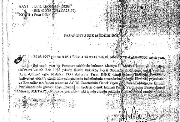 Confidential document that was revealed during Dink's case. (Source: Armenpress)