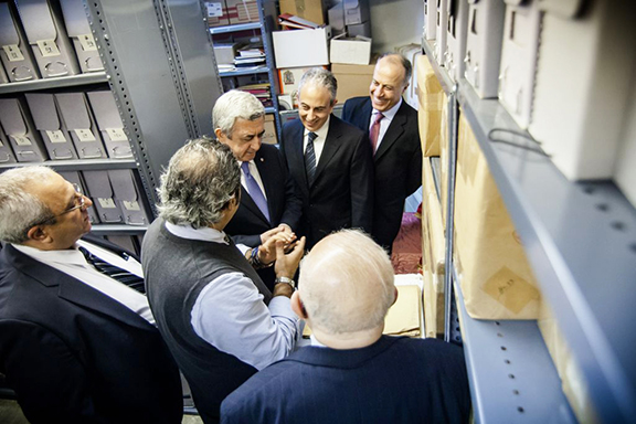 President Sarkisian visits the ARF Archives, which are housed at the Hairenik Association Building (Photo by Aaron Spagnolo)