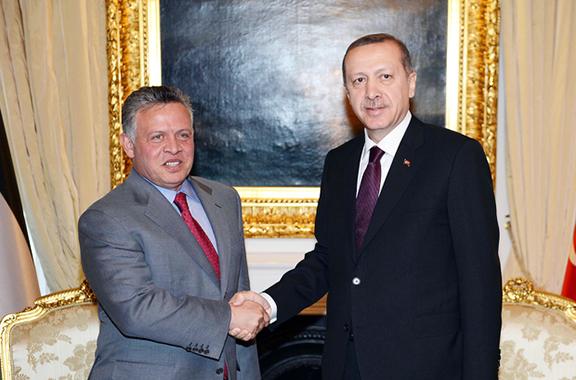 Jordan's King Abdullah II (left) Turkey's President Recep Tayyip Erdogan